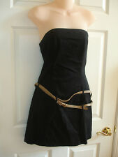 Baby Phat Black Cotton Stretch Strapless Belted Detail Mini Dress 9 EUC