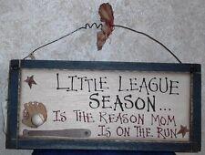 "BASEBALL LITTLE LEAGUE WOOD SIGN THE REASON MOM IS ON THE RUN WALL DECOR 12x5.5"""