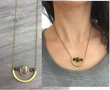 Gray Agate Druzy & Black Jasper  Brass Curved Arc Tube Antique Bronze Necklace