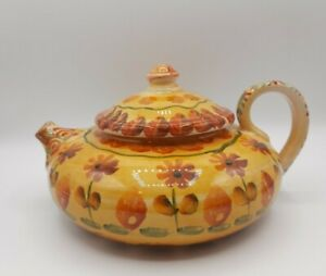 Italy Hand Painted Stoneware Teapot with Short Spout Yellow Orange Flowers AS IS