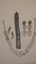 Silver/White Gold 6- piece Jewelry Set (includes necklace, bracelet & earrings)