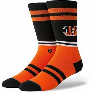 Stance Men Orange Blue Crew NFL Football Cincinnati Bengals Logo Socks M 6-8.5