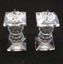 Swarovski Crystal Candle Holders Pin Style Faceted Balls Pair