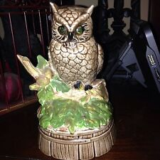 Hand Painted Porcelain Ceramic Owl Music Box on Branch For Cori Love Grandma