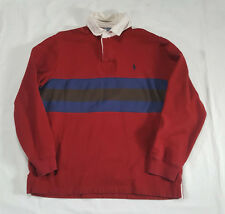 Vtg Polo Ralph Lauren Red Blue Brown Long Sleeve  Shirt LARGE white collar rugby