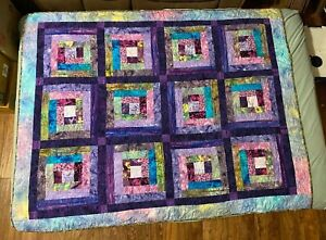 """Hand Made Quilt (Sewing Machine)- Batik Material - Palm Trees Quilt 67"""" x 54"""""""