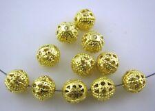 LOT de 60 PERLES RONDES filigranes ajourées 8mm DORE création bijoux
