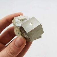 Pyrite on Matrix from Navajún, La Rioja, Spain; Cube Size: 1.9 cm³
