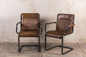 PAIR OF RETRO STYLE TAN LEATHER UPHOLSTERED DINING CHAIR ARMREST VINTAGE FINISH
