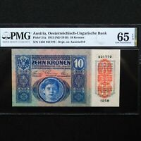 Austria 1915 (ND 1919)  10 Kronen, Pick # 51a, PMG 65 EPQ Gem Uncirculated