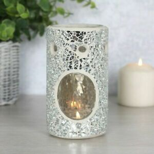 NEW - Glass Silver Crackle Pillar Oil Burner Scent Wax Melt Candle - Homely Gift
