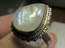 DESIGNER MOON STONE RETRO STERLING NATURAL COLOR PEAR RING 8 SILVER 925 nice