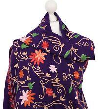 Purple Embroidered Ladies Scarf Shawl Floral Winter Indian Kashmir Wool Wrap UK