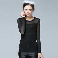 Lace Long Sleeve Semi Fitted Floral Tops & Shirts for Women