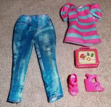 BARBIE DOLL CLOTHES - BLUE CAPRI PANTS, STRIPED TOP, SHOES, PURSE