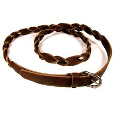 ANIMAL Ladies Brown Twisted Plaited Leather Belt Size M/L 90cm to 100cm