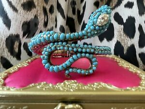 Betsey Johnson Mystic Baroque Turquoise Blue Snake Coil Wrap Bangle Bracelet