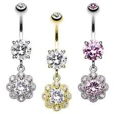 Gold Dazzling Flower Belly Button Ring Clear Pink Piercing CZ Sexy Fun Dangle