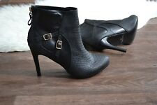 WOMENS  BLACK ANKLE BOOTS UK SIZE 10 Stiletto Heel With Zip