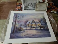 DBL-SIGN Thomas Kinkade FOOTHILL MEMORIES OF CHRISTMAS Paper Litho 16x20 COA