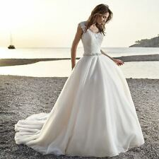 New White/Ivory Lace applique and Tulle Beach Wedding dress Bridal Gown Custom