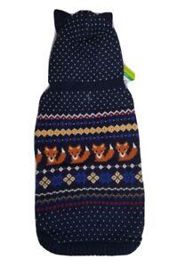 New Top Paw Dog Apparel Outerwear Navy Fair Isle FOX Sweater Hoodie w Ears Sz L