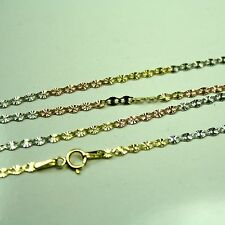 14k solid multi-tone gold 18 inches long 2.2mm Flat Star link chain 1.6 grams