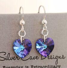 925 Sterling Silver Earrings Deep Purple Heart Pendant Swarovski Element Crystal