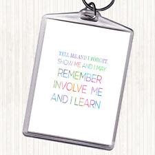 I Learn Rainbow Quote Bag Tag Keychain Keyring