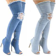AU Fashion Ladies Denim Boots Peep-toe Stiletto Heel Over The Knee Heels Boots