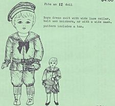 """12""""BOY DOLL SAILOR/MIDDY SUIT&HAT/KNICKERS&JACKET&TAM/DICKEY VINTAGE PATTERN"""