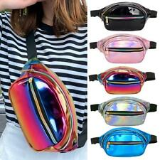 1PC Womens Punk Fanny Pack Shiny Leather Pouch Belt Waist Bum Bags Phone Pockets