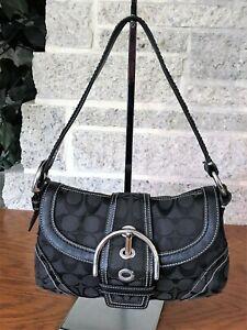 COACH BLACK SIGNATURE SOHO BUCKLE FLAP 10296 HANDBAG BAG PURSE SHOULDER HOBO