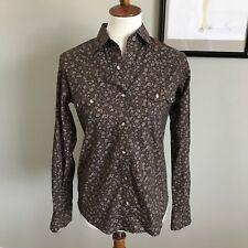 Panhandle Women's Western Wear Brown slim retro wear button down shirt size S