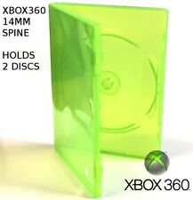 Microsoft Xbox 360 double Case GREEN 14mm  - NEW [holds 1 or 2 discs]