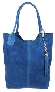 Open Top Real Italian Suede Shoulder Bag