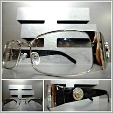 Mens CLASSY CONTEMPORARY Clear Lens EYE GLASSES Rectangular Silver & Black Frame