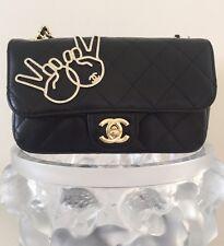 Chanel 2017 Piece Sign Emoji Runway Classic Flap Mini Rectangular Crossbody Bag