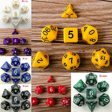7X Dice Set TRPG For DND Multi Sided D4-D20 Acrylic Transparent 6 Colors TO