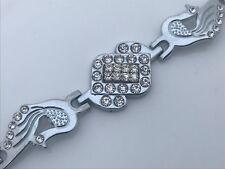 Women Bracelet Peacock Crystal Accents Fancy Silver Tone Hand Cuff Bracelet