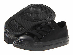 NEW INFANT TODDLER CONVERSE ALL STAR OX CHUCK TAYLOR BLACK MONO 714786F SO CUTE