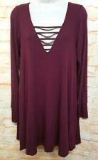 Lucy Love Women Size S Burgundy Shirt Dress Keyhole Neck Striped Long Sleeve.85