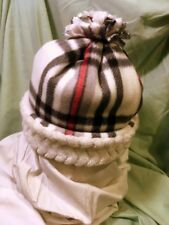 Plaid Black/White Chevron Sherpa Fleece Warm & Soft Hat Cap Beanie Handmade