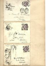 More details for phenomenal rare late victorian hand-illustrated envelope collection - 80 pieces