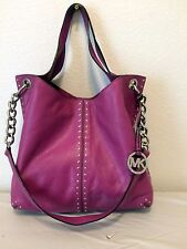 Michael Kors UPTOWN ASTOR Studded Tote Raspberry Pink Leather Handbag $448.00!!