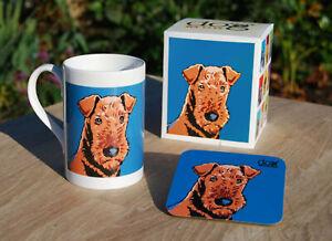 Airedale porcelain mug gift set