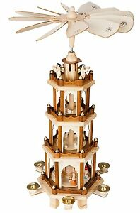 "BRUBAKER Christmas Pyramid 24"" Wood Nativity Play, 4 Tier Carousel (USED)"