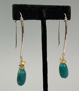 Jay King DTR Sterling Silver Turquoise Dangle Earrings w/ Amber Nuggets