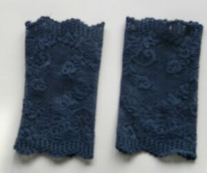 Stulpen handgenäht Handarbeit neu Spitze blau 14cm lang 8,5cm breit