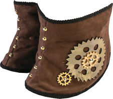 Steampunk Gear Spats Costume Accessory Adult - Brown Victorian Shoe Covers